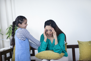 Stubborn child girl asking the frustated mother to play at home - childhood