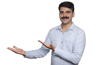 Handsome Indian man with mustache representing something with his hands - White background