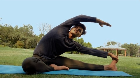 Young boy doing daily workout exercise in the morning - healthy lifestyle