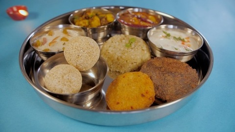 North Indian Navratri vegetarian Thali/food platter prepared during fasts
