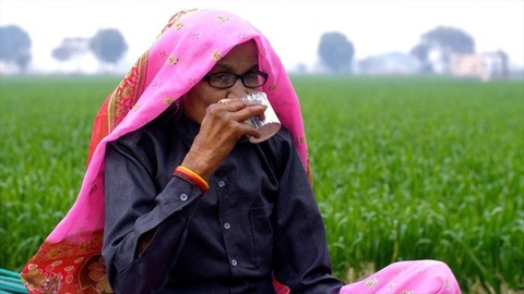 Medium shot of an aged woman having a cup of tea in the pleasant weather outside