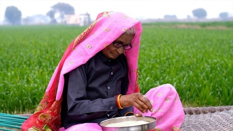 A medium shot of an old lady of a village cleaning the rice which is in a plate