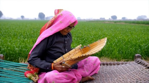 An old Indian woman from a village cleaning rice using a bamboo rice-cleaner