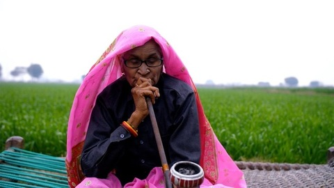 An elderly lady of a village smoking an Indian pipe while sitting near a field