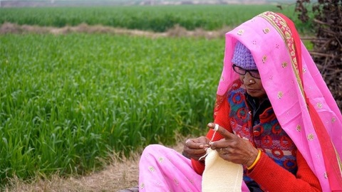 Medium shot of an aged woman making sweaters for  winters sitting in a field