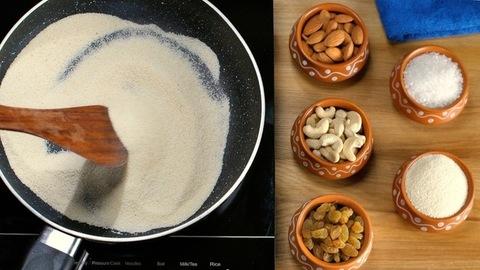 Female's hand roasting Sooji/semolina in a non-stick frying pan to prepare Halwa