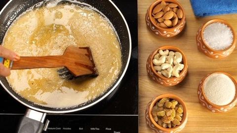 Frying Sooji/semolina in homemade Ghee to make delicious Halwa - food concept