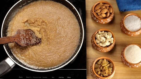Preparation of Indian sweet/dessert - Sooji/Suji/semolina Halwa in Desi Ghee