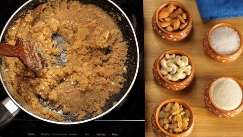 Female preparing yummy Sooji/semolina Halwa/pudding - classic Indian sweet dish