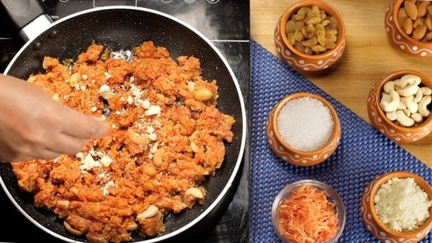 Cooking of grated carrot for preparation of Indian sweet/dessert - carrot/Gajar Halwa