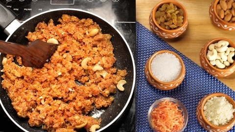 Stirring of Gajar Halwa/carrot pudding made with lots of Desi Ghee and dry fruits