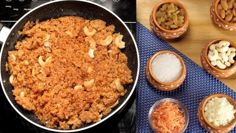 Traditional Gajar Ka Halwa with lots of cashew nuts simmering slowly in a frying pan