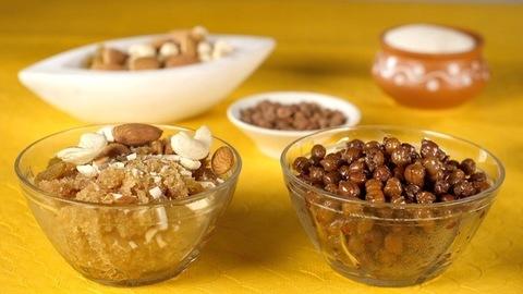 Popular Indian dishes Sooji Ka Halwa and Chana Masala kept together on a  table