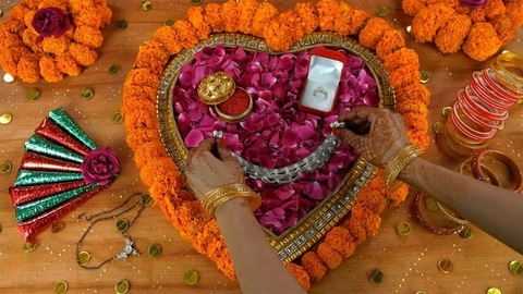 Top view shot of mehndi on woman hands placing Payal on a decorated platform - Indian Wedding Rituals
