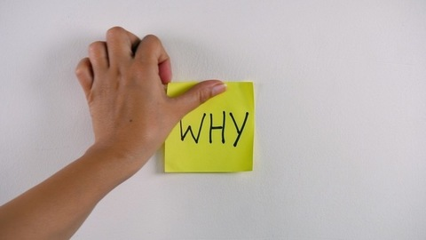 """Closeup shot of woman's hand sticking note with """"WHY"""" text on a white wall"""