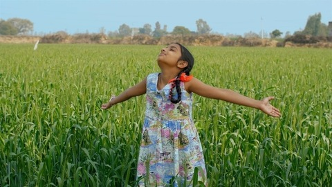 An Indian girl standing in a field breathing the fresh air and enjoying the rural life