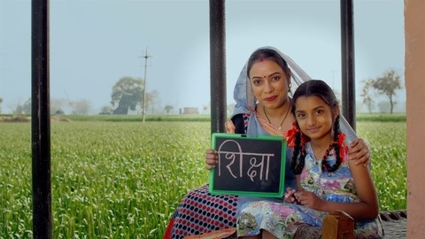 A mother and daughter from an Indian village - girl's education