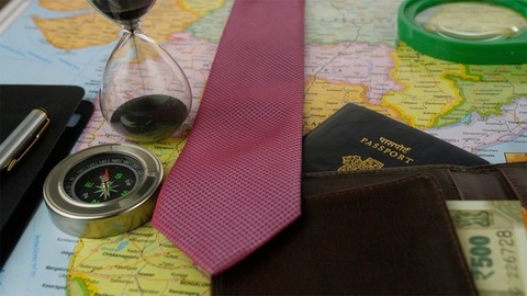 Closeup shot of travel planning accessories for a business tour - travel concept