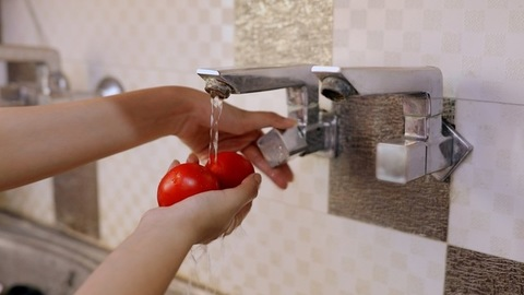 Closeup shot of woman hands washing fresh tomatoes under a tap in the kitchen