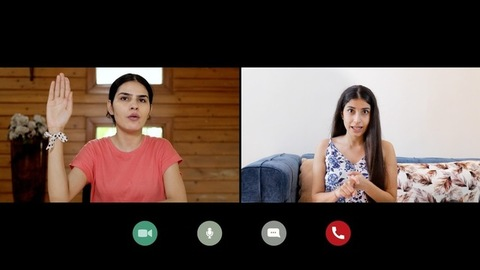 Screen view of two businesswomen discussing their business plans on a video call