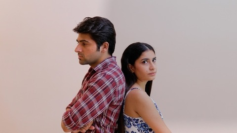 Angry Indian couple feeling extremely frustrated after fighting with each other