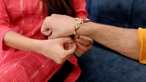 Hands of Indian brother and sister celebrating the festival of Raksha Bandhan