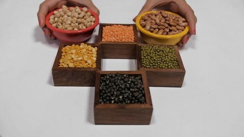 Various colorful raw dal/lentils kept in separate places against a white background
