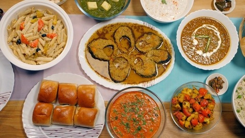 Delicious Indian food on the table for a big family - home cooking