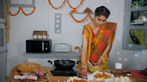 A Traditional Bengali Lady Cleaning Her Kitchen Stock Video Knot9