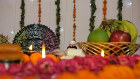 Closeup shot of a beautifully decorated platform with Goddess Durga's idol