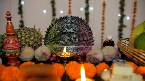Beautifully decorated Puja room during Durga Puja/Bengali festival prayers