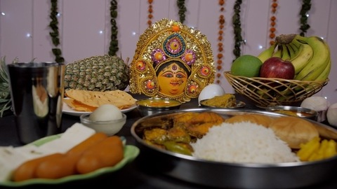 Regional Thali from West Bengal with sweets served as Bhog/Prasad to Ma Durga
