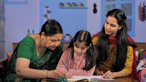 Indian family across three generations - Family bonding between mother and daughter