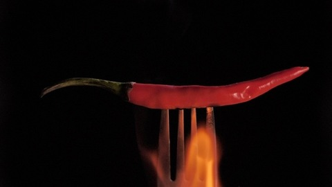 Plump whole red chili with green stem held with a fork being roasted in fire