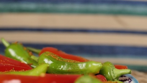 Delicious spicy stuffed chilies pickle made in India