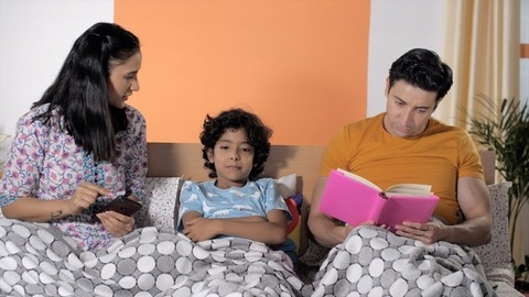 Parents scolding their child for excessive mobile use - Technology addiction