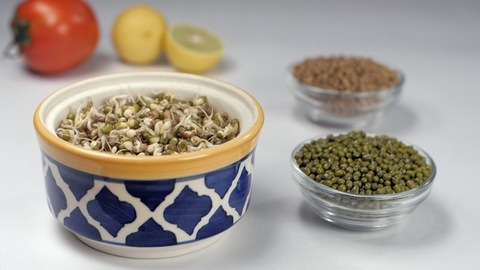 Sprouts out of green Moong Dal rich in protein falling in a ceramic bowl