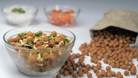 A gunny bag full of white chickpeas falling on a white table - protein-rich food