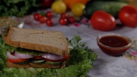 Healthy brown bread slice falling to prepare a vegetarian delicious club sandwich