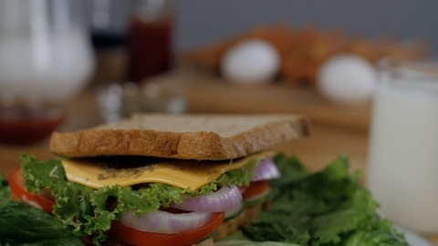Delicious grilled vegetarian sandwich rotating on a turntable - morning breakfast