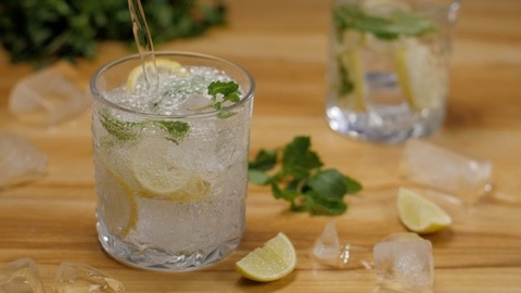 Fresh lemon juice is poured into a glass with sliced lemon and mint leaves