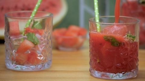 Fresh watermelon smoothie with mint leaves and ice cubes - a healthy drink, Summer fruit India