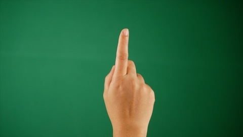 A person rotating the index finger against a green background - hand gestures