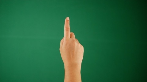 Green chroma shoot - Human hands drawing a smiley while standing against a green screen