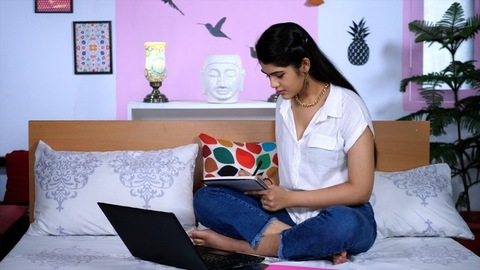 Online classes from home - College going Indian student attending online college
