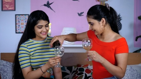 Pretty teenage girls partying at home maintaining social distance - COVID 19