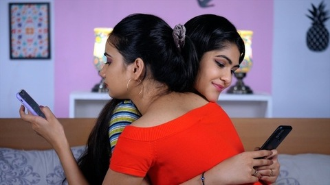 Happy girlfriends with long black hair hugging each other - Disconnected friends, Relationship problems