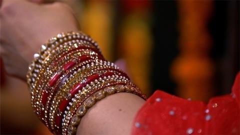 Shot of Indian women wearing beautiful bangles