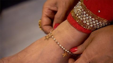Indian women wearing beautiful payal / anklet