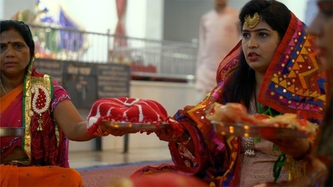 Beautiful ladies are performing Pheri ritual on the day of Karwa Chauth festival